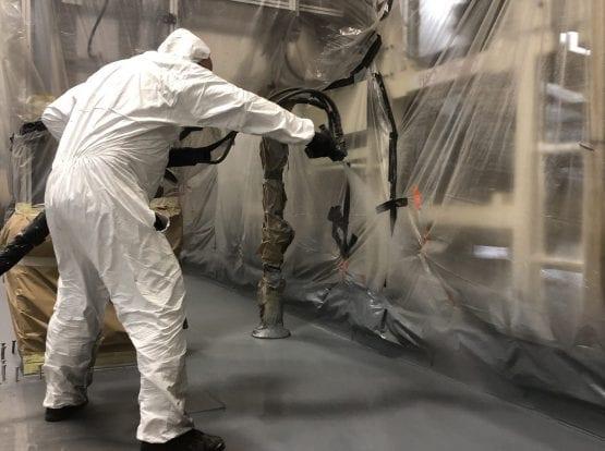 Line-X Floor Spraying