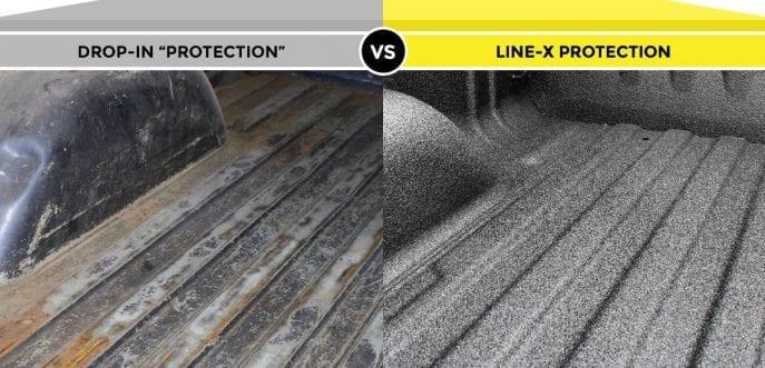 Line-X Truck bedliner before & after