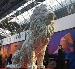 Line-X Lion sculpture