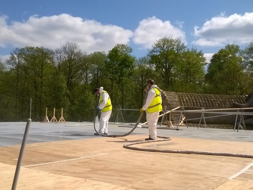 Line-X Roof spraying during